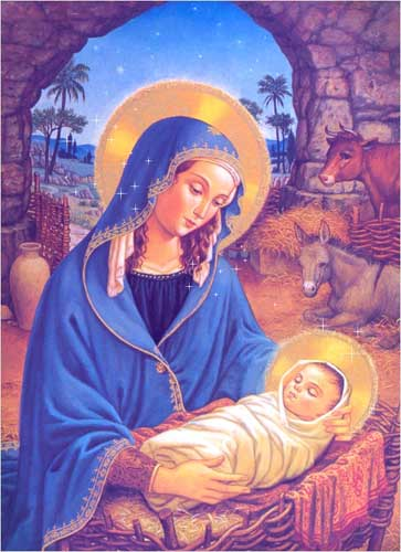 Mary holding the baby Jesus - twinkling stars